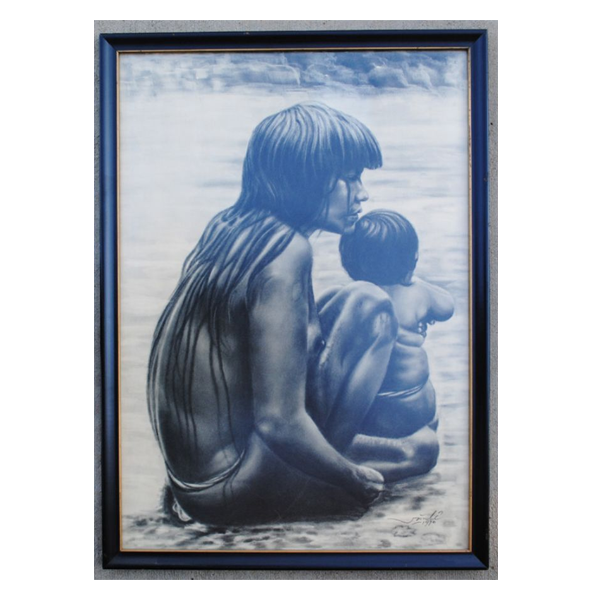 Wartime-Charcoal-Drawing-of-Montagnard-Woman-and-Child--#157
