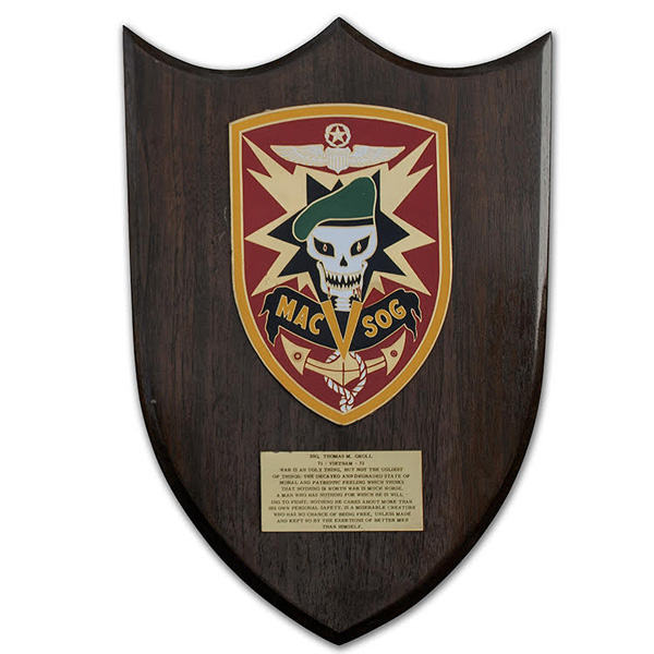 Tom Groll's private purchased MAC V SOG plaque.