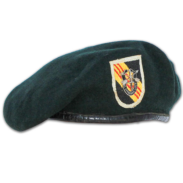 Craig Davis' embroidered green beret (1)