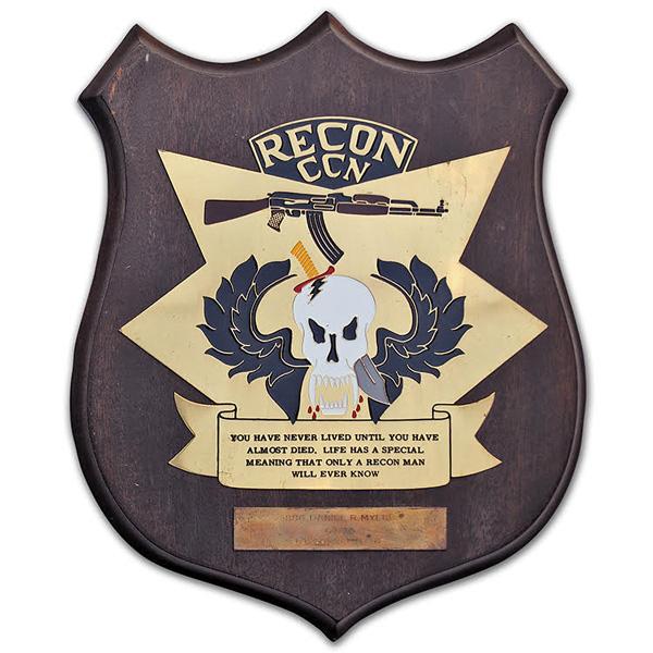 Daniel Myers' CCN Recon Company plaque.
