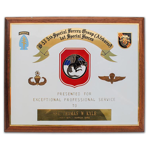 Thomas Kyle's Camp Long Thanh (B-53) plaque.