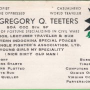 CCC Gregory Teeters Buis. Card A (Hardy Collection)