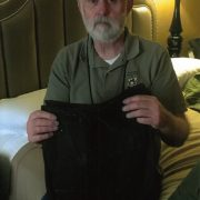 Richard Mullowney holding his dyed cross border pants, October 2018. 1A - Copy