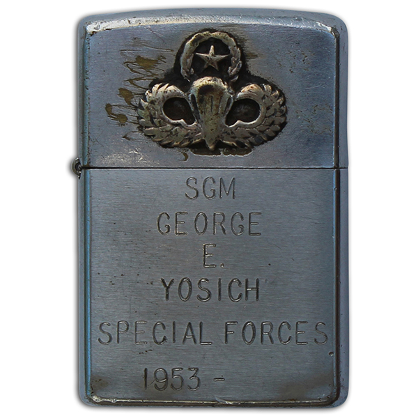 George Yosich's engraved Zippo lighter. A